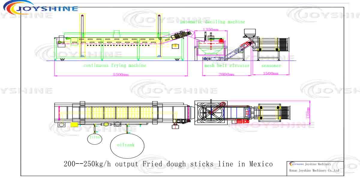 200 -250kg/h Small fried dough sticks frying line from Mexico