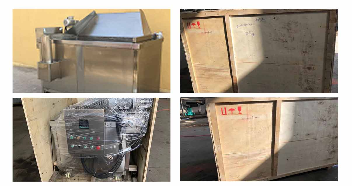 Double-basket-fryer-with-automatic-discharging-device-in-Zambia
